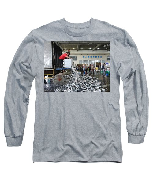 Long Sleeve T-Shirt featuring the photograph Selling Grey Mullet Fish In Taiwan by Yali Shi
