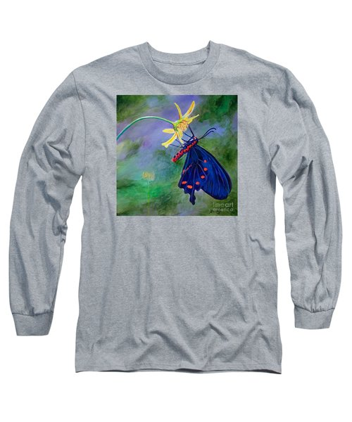 Long Sleeve T-Shirt featuring the painting Semperi Swallowtail Butterfly by AnnaJo Vahle