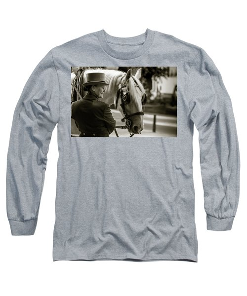 Sepia Carriage Horse With Handler Long Sleeve T-Shirt
