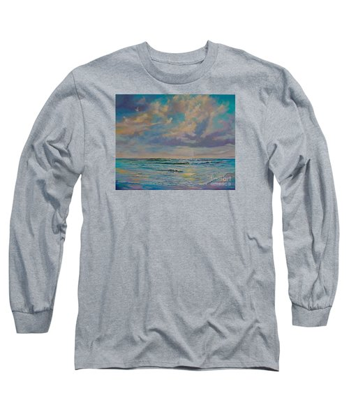 Long Sleeve T-Shirt featuring the painting Serene Sea by AnnaJo Vahle