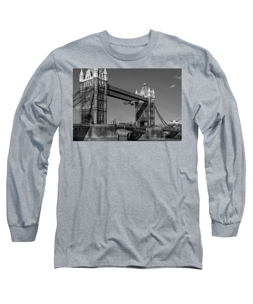 Long Sleeve T-Shirt featuring the photograph Seven Seconds - The Tower Bridge Hawker Hunter Incident Bw Versio by Gary Eason