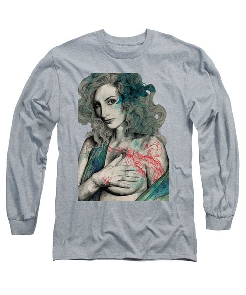 Sgnl-05 - Seminude Street Art Portrait, Topless Lady With Swan Tattoo Long Sleeve T-Shirt