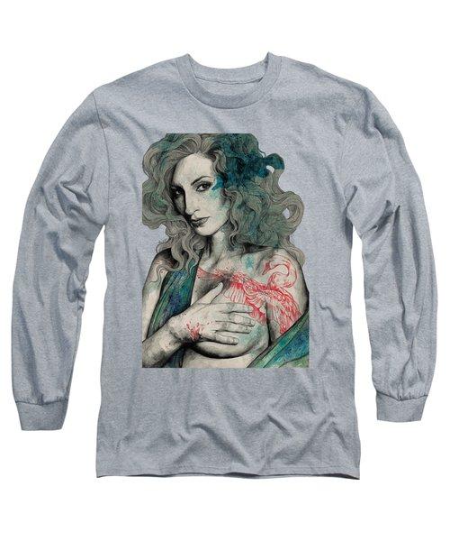 Sgnl-05 - Seminude Street Art Portrait, Topless Lady With Swan Tattoo Long Sleeve T-Shirt