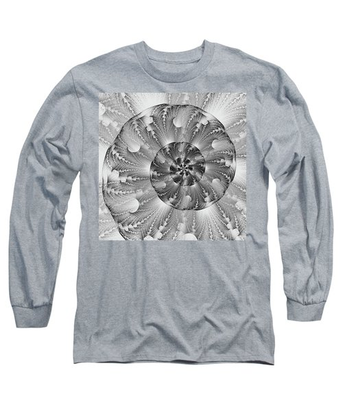 Long Sleeve T-Shirt featuring the digital art Shades Of Silver by Lea Wiggins