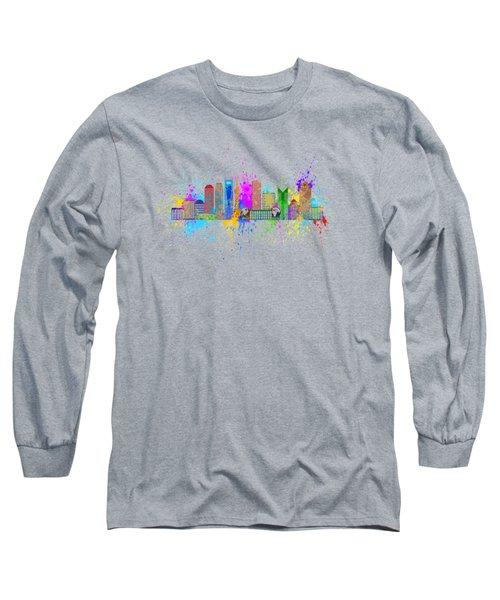 Shanghai Skyline Paint Splatter Illustration Long Sleeve T-Shirt