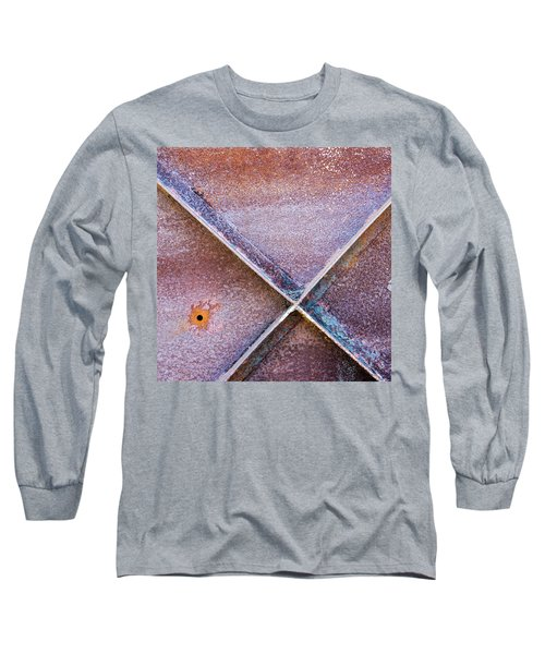 Long Sleeve T-Shirt featuring the photograph Shapes And Textures On Bunker Door by Gary Slawsky