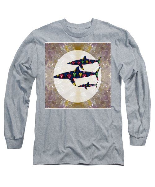 Shark Fish Dangerous Painted Cartoon Face Link For Download Option Below Personal N Commercial Uses Long Sleeve T-Shirt