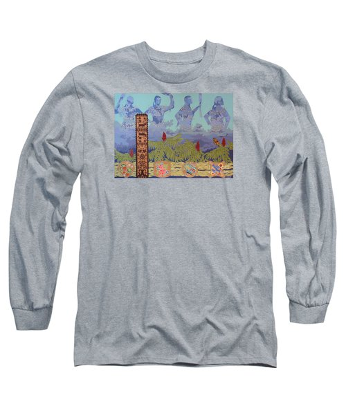 Long Sleeve T-Shirt featuring the painting She Makes Rain by Chholing Taha