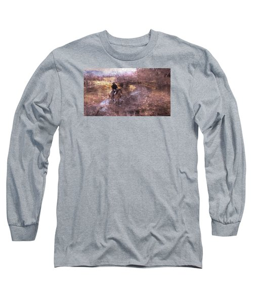 Long Sleeve T-Shirt featuring the photograph She Rides A Mustang-wrangler In The Rain II by Anastasia Savage Ealy