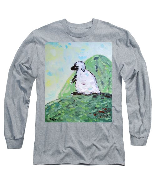 Long Sleeve T-Shirt featuring the painting Sheep On A Hill by Maria Langgle