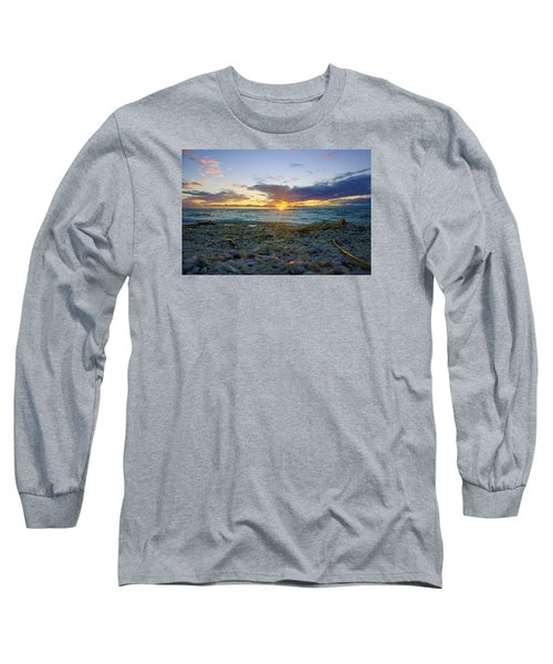 Long Sleeve T-Shirt featuring the photograph Shells On The Beach At Sunset by Robb Stan