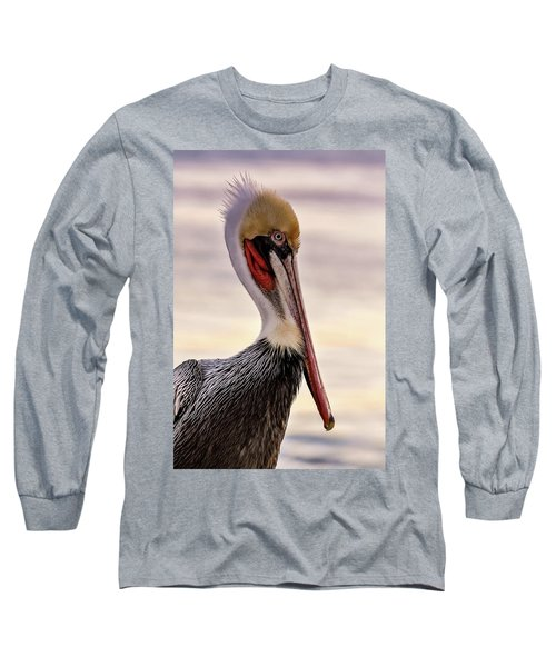 Shelter Island's Pelican Long Sleeve T-Shirt by Martina Thompson