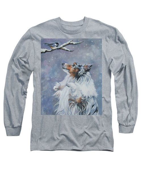 Shetland Sheepdog With Chickadee Long Sleeve T-Shirt