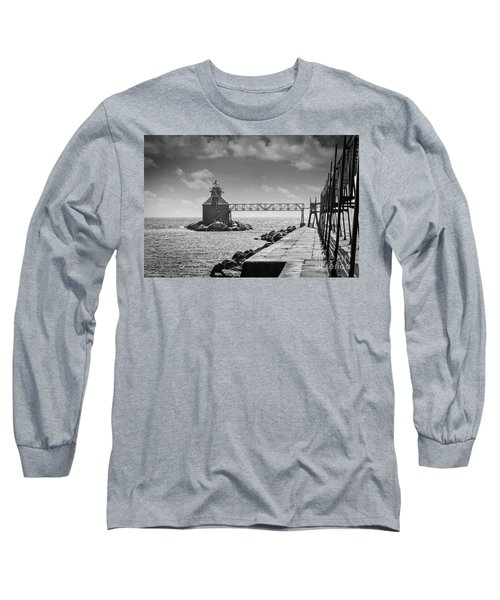 Ship Canal North Pierhead Lighthouse II Long Sleeve T-Shirt by Deborah Klubertanz
