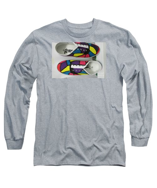 Long Sleeve T-Shirt featuring the painting Shoe Art - 008 by Mudiama Kammoh