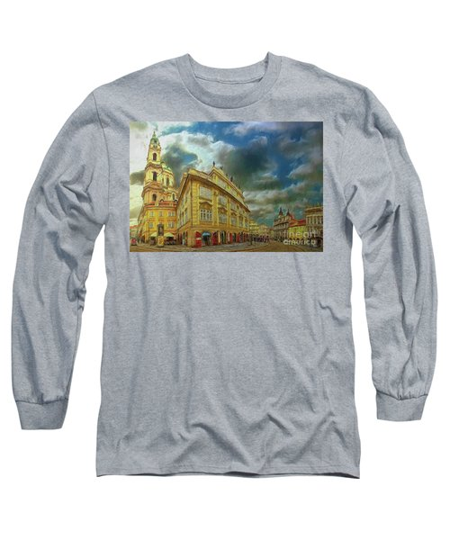 Long Sleeve T-Shirt featuring the photograph Shooting Round The Corner - Prague by Leigh Kemp