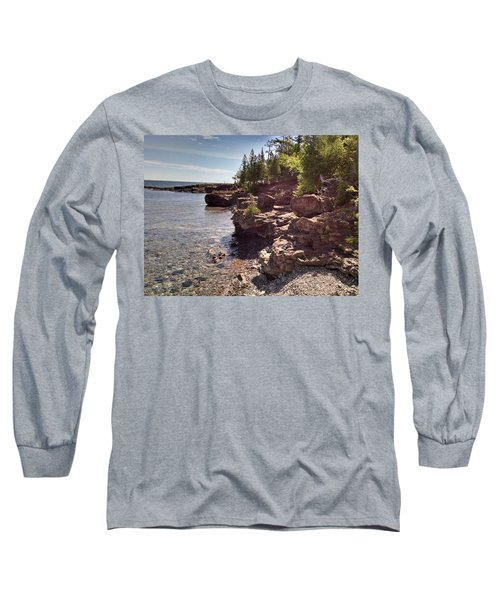 Shoreline In The Upper Michigan Long Sleeve T-Shirt by Alan Casadei
