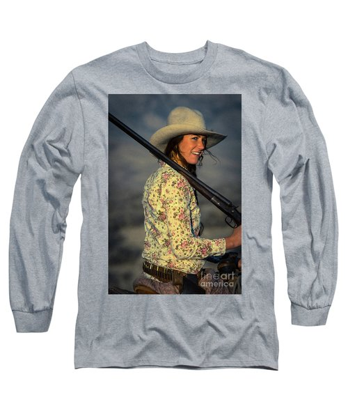 Shotgun Annie Western Art By Kaylyn Franks Long Sleeve T-Shirt