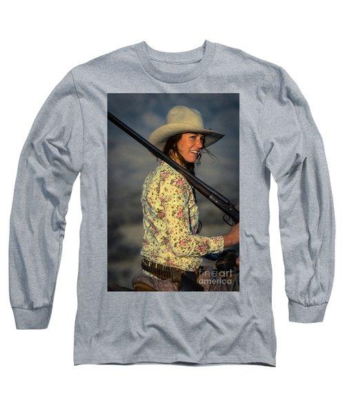 Shotgun Annie Western Art By Kaylyn Franks Long Sleeve T-Shirt