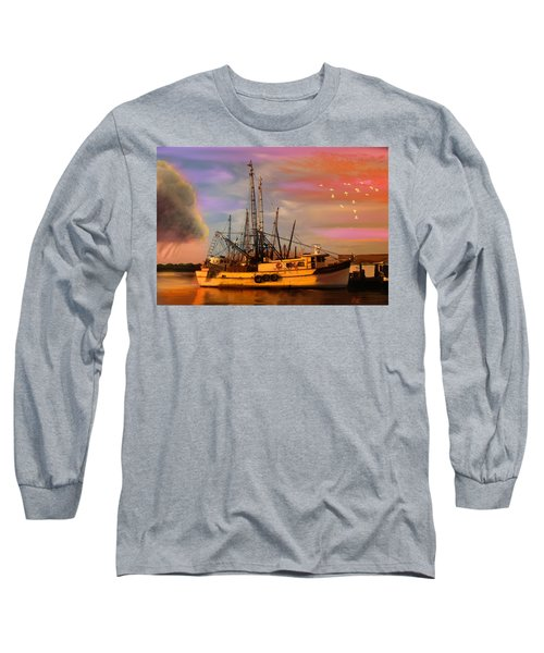 Shrimpers At Dock Long Sleeve T-Shirt by J Griff Griffin