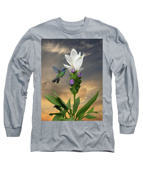 Siam Sparkling Curcuma And Hummingbird Long Sleeve T-Shirt