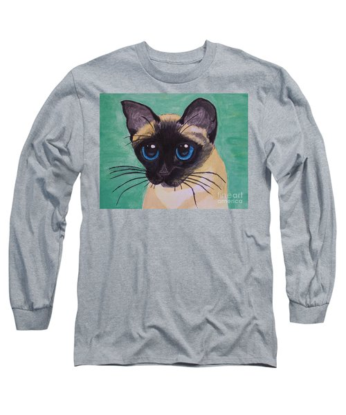 Long Sleeve T-Shirt featuring the painting Siamese by Leslie Allen