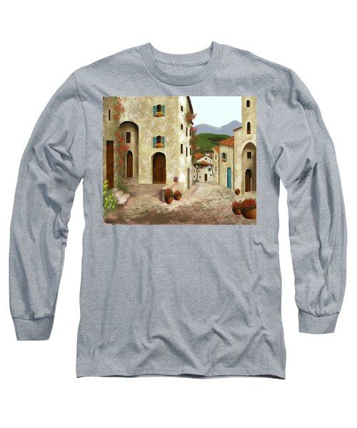 side streets of Tuscany Long Sleeve T-Shirt by Larry Cirigliano