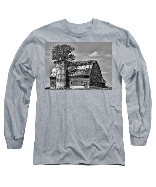 Silo Tree Black And White Long Sleeve T-Shirt