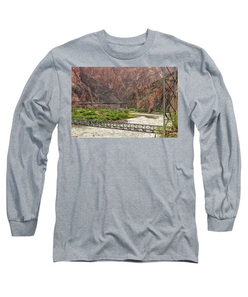 Silver And Black Bridges Over The Colorado, Grand Canyon Long Sleeve T-Shirt