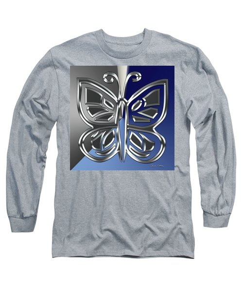 Silver Butterfly Long Sleeve T-Shirt