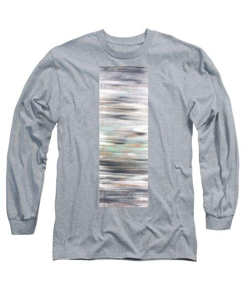 Silver Coast #25 Silver Teal Landscape Original Fine Art Acrylic On Canvas Long Sleeve T-Shirt