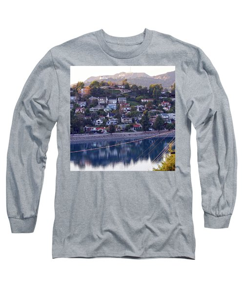 Silver Lake Reservoir With Griffith Observatory And Hollywood Sign Long Sleeve T-Shirt