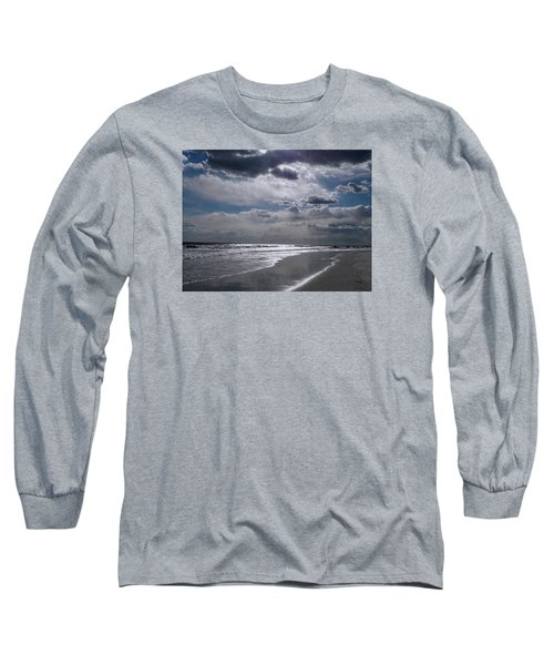 Long Sleeve T-Shirt featuring the photograph Silver Linings Trim The Sea by Lynda Lehmann