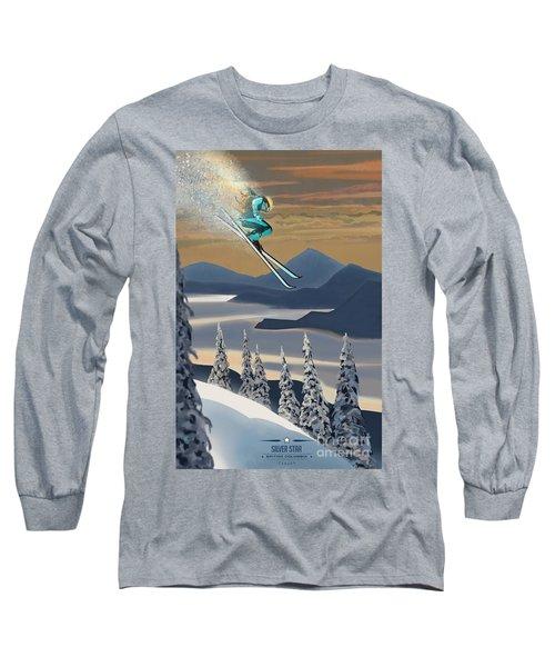 Silver Star Ski Poster Long Sleeve T-Shirt