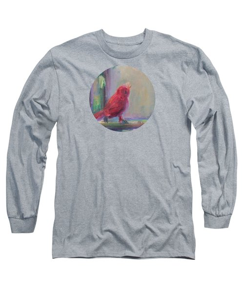 Long Sleeve T-Shirt featuring the painting Sing Little Bird by Mary Wolf