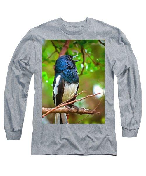 Singing Ceylonese Robin-magpie Long Sleeve T-Shirt