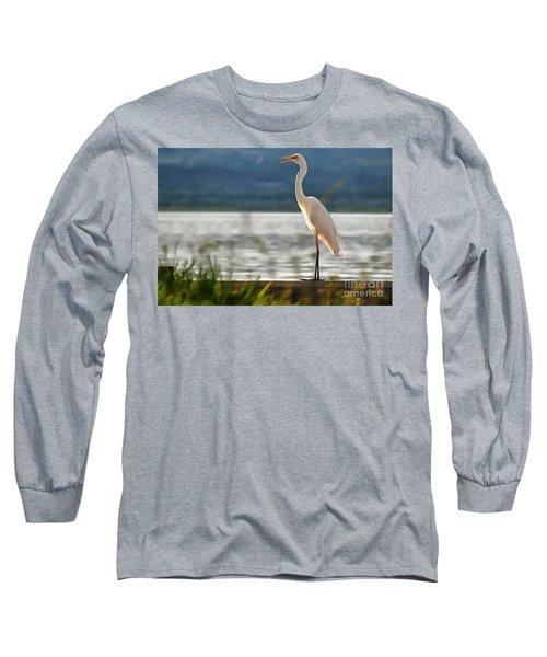Singing White Egret Long Sleeve T-Shirt