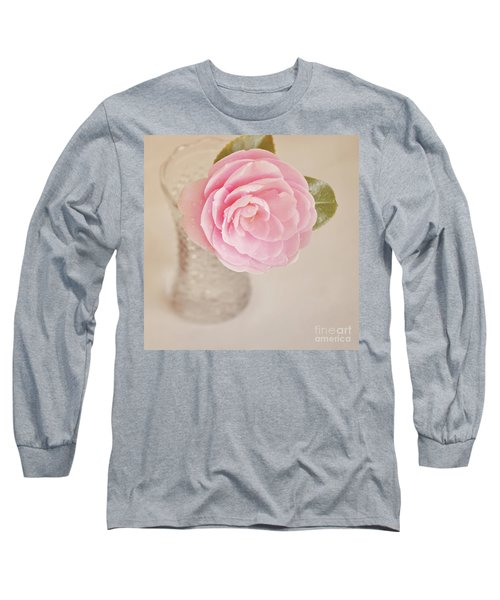 Long Sleeve T-Shirt featuring the photograph Single Pink Camelia Flower In Clear Vase by Lyn Randle