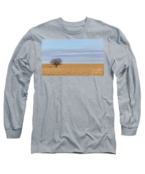 Single Tree In Large Field With Cloudy Skies Long Sleeve T-Shirt