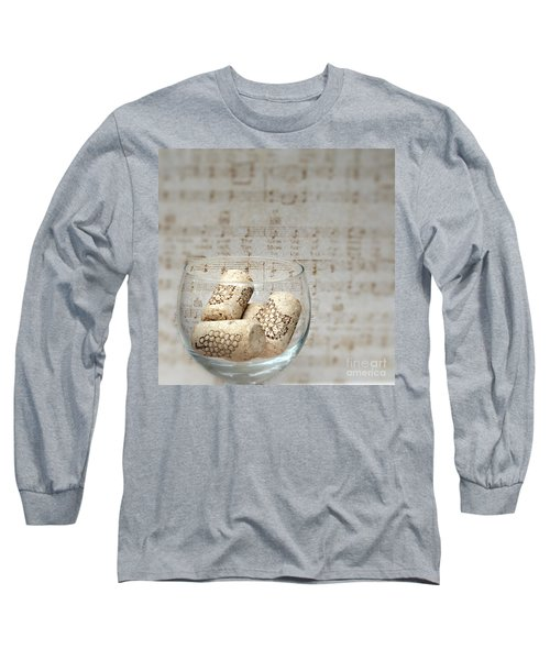 Sipping Wine While Listening To Music Long Sleeve T-Shirt by Sherry Hallemeier
