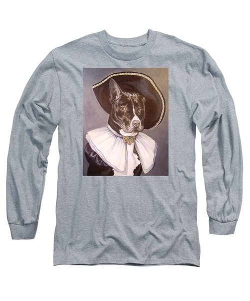 Long Sleeve T-Shirt featuring the painting Sir Pibbles by Laura Aceto