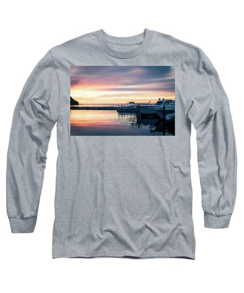 Sister Bay Marina At Sunset Long Sleeve T-Shirt