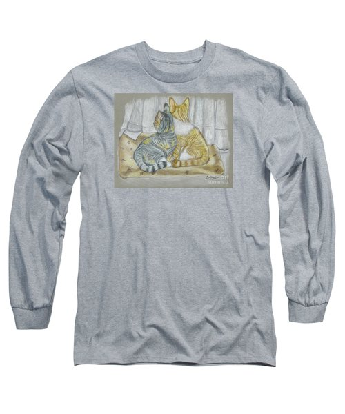 Long Sleeve T-Shirt featuring the drawing Sisters  by Carol Wisniewski