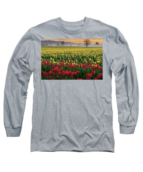 Long Sleeve T-Shirt featuring the photograph Skagit Valley Misty Morning by Dan Mihai