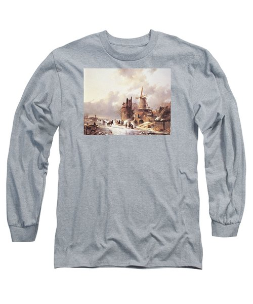 Skaters On A Frozen River Long Sleeve T-Shirt by Reynold Jay