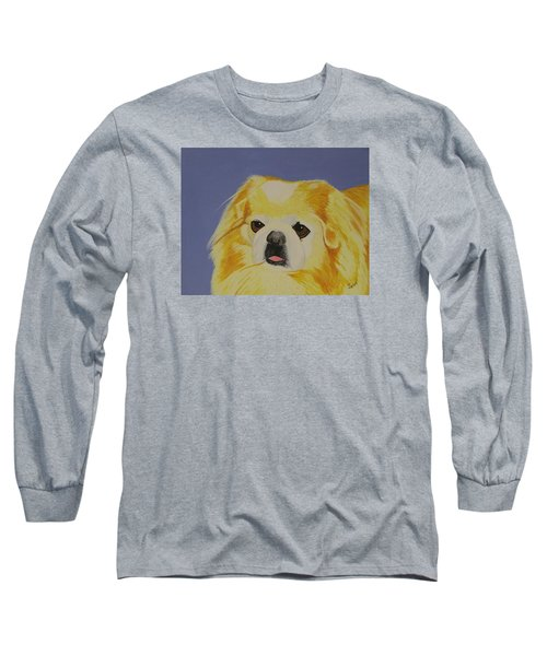 Long Sleeve T-Shirt featuring the painting Skeeter The Peke by Hilda and Jose Garrancho
