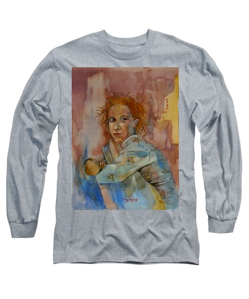 Long Sleeve T-Shirt featuring the painting Sketch For Sarah by Ray Agius