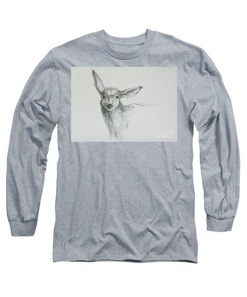 Sketch Of A Mule Deer Doe Long Sleeve T-Shirt by Dawn Senior-Trask