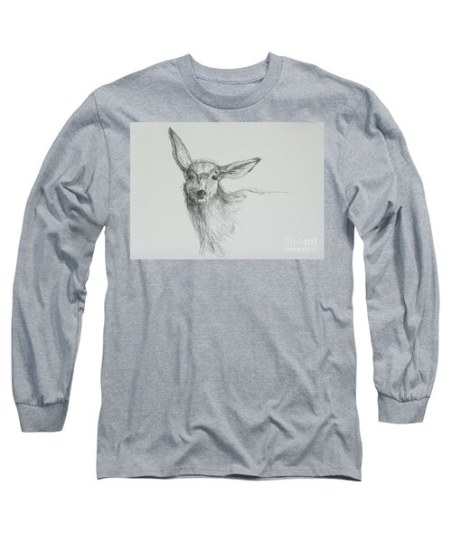 Sketch Of A Mule Deer Doe Long Sleeve T-Shirt
