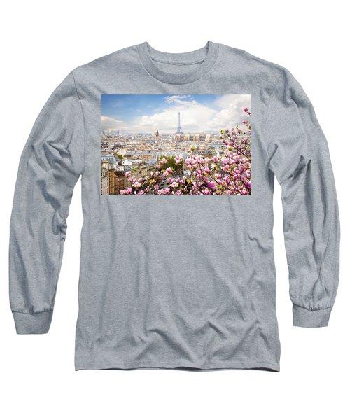 skyline of Paris with eiffel tower Long Sleeve T-Shirt by Anastasy Yarmolovich